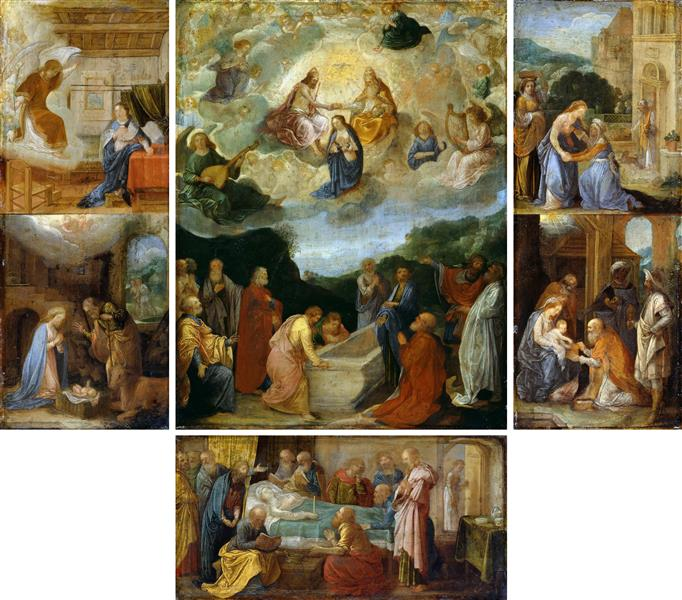 Altar with six scenes from the life of the Virgin Mary - Adam Elsheimer