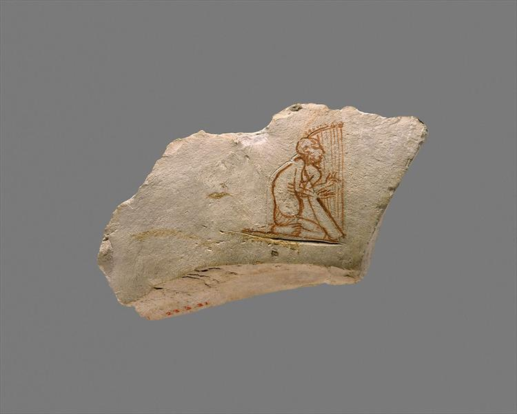Ostracon with Sketch of a Harpist, c.664 - c.610 BC - Ancient Egyptian Painting