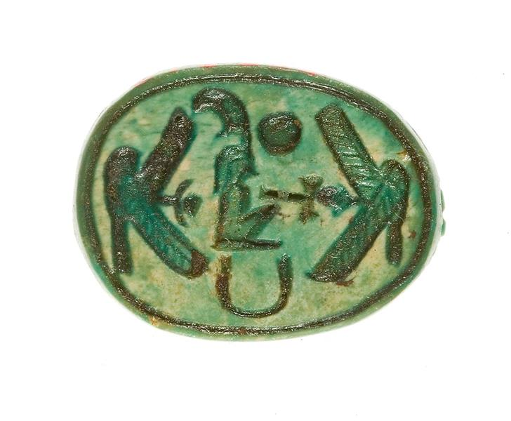 Scarab Inscribed with the Name Maatkare (Hatshepsut) Flanked by Two Falcons, One Proffering An Ankh, c.1479 - c.1458 BC - Ancient Egypt
