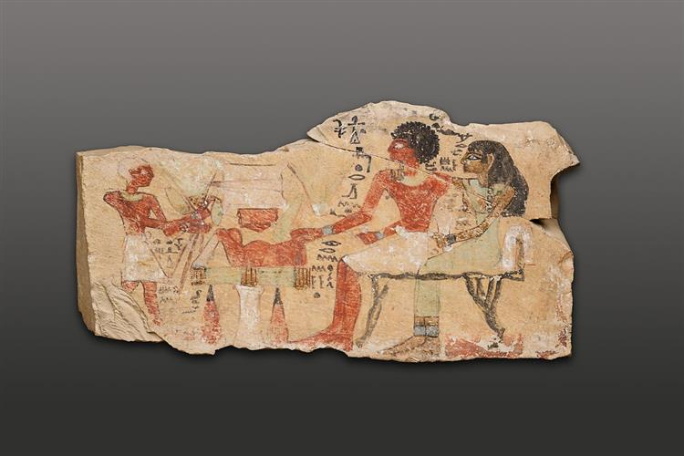 Stela of Intef and His Wife, Dedetamun - Ancient Egyptian Painting