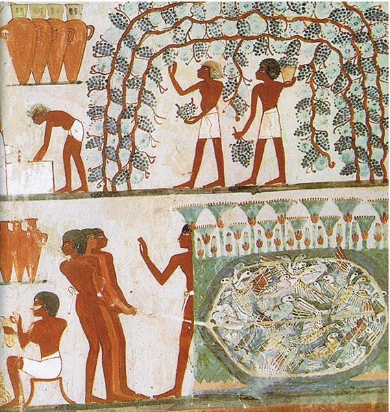 Ober Weinlese, Unten Vogelfang, c.1390 BC - Ancient Egypt