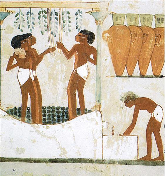 Papyrus Stem Columns Holding up Grapevine Arbor, c.1390 BC - Ancient Egyptian Painting