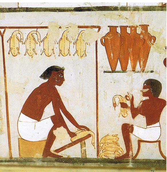 Geflügel Rupfen Und Ausnehmen, c.1390 BC - Ancient Egypt