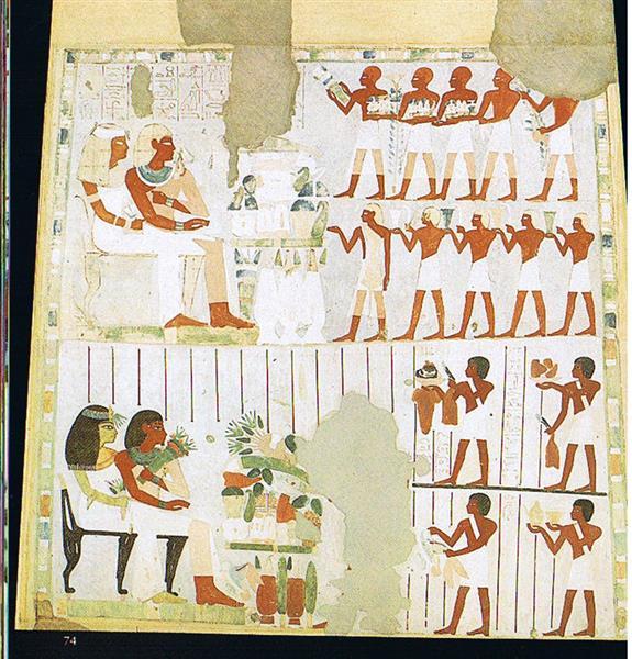Opferszene, Sitzend Zweimal Nacht Und Taui, c.1390 BC - Ancient Egypt
