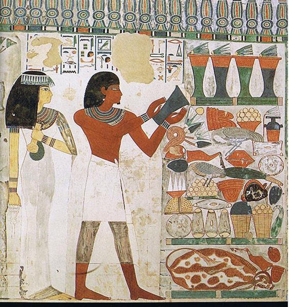 Nacht Und Taui Opfern, 1390 BC - Ancient Egyptian Painting