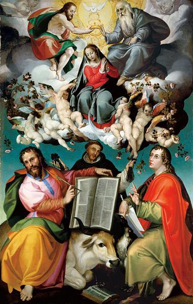 The Coronation of the Virgin with Saints Luke, Dominic, and John the Evangelist - Bartolomeo Passerotti