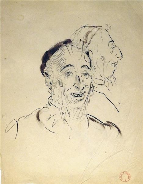 Portrait d'homme, tois-quart Face et Profil - Alfred Dehodencq