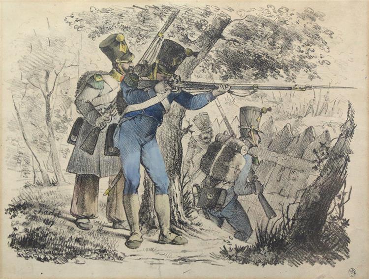 Voltigeurs en Tirailleurs derrière Une Palissade, 1817 - Nicolas Toussaint Charlet