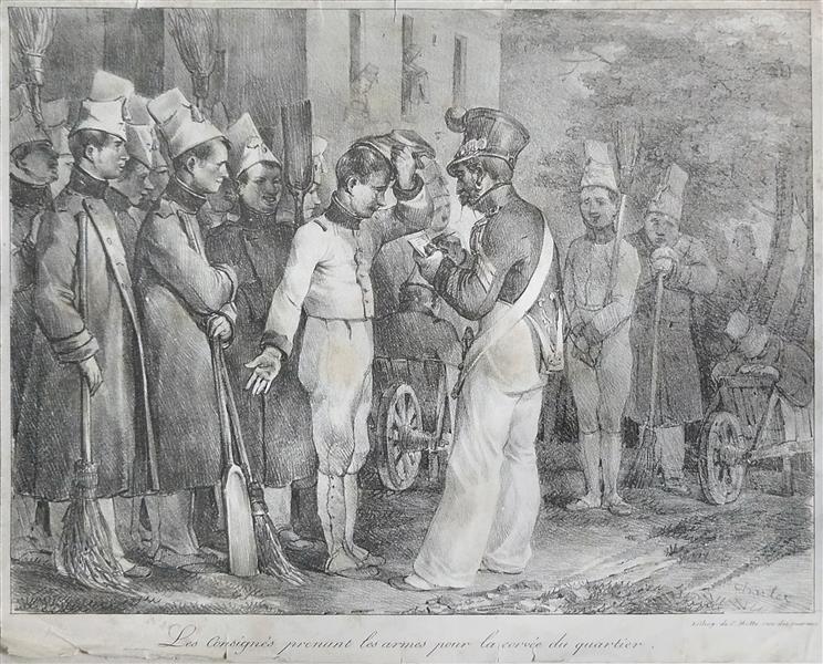 Les Consignés prenant les Armes pour la Corvée du Quartier, c.1821 - Nicolas Toussaint Charlet