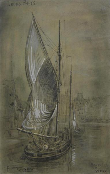 """Honfleur Le Vieux, """"Leurs Ports"""", 1912 - Fernand Combes"""