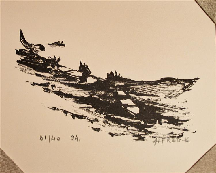 Ink transformed into print: Boats, 1994 - Alfred Freddy Krupa