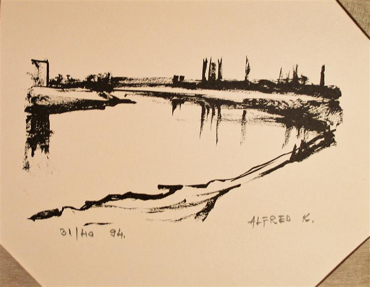 Ink transformed into print: the Kupa river, 1994 - Alfred Freddy Krupa