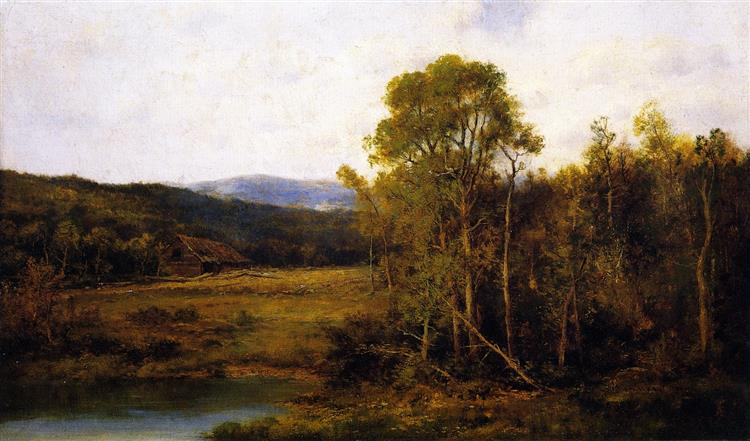 Landscape with Pond and Cabin - Alexander Helwig Wyant