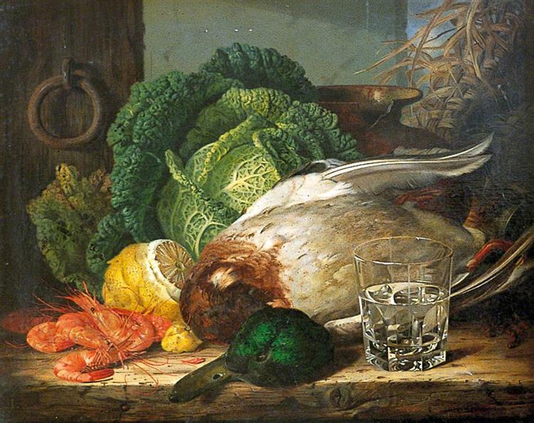 Still Life with Mallard, Prawns and Savoy, c.1850 - Edward Ladell