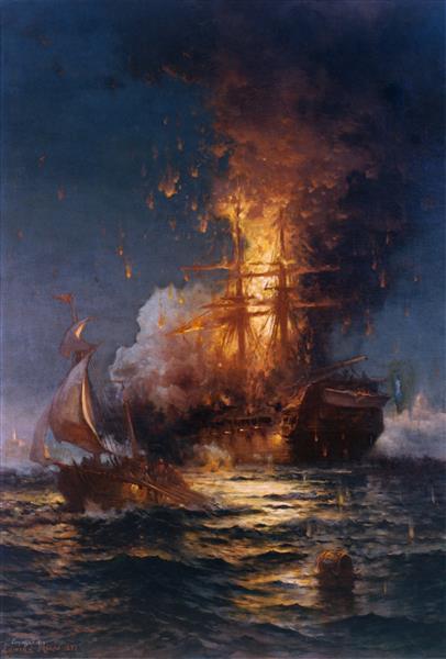 Burning of the Frigate Philadelphia in the Harbor of Tripoli, 1897 - Edward Moran