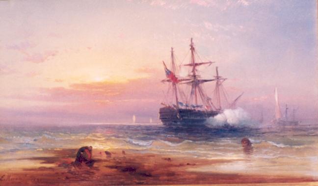 Salute at Sunset, 1865 - Edward Moran