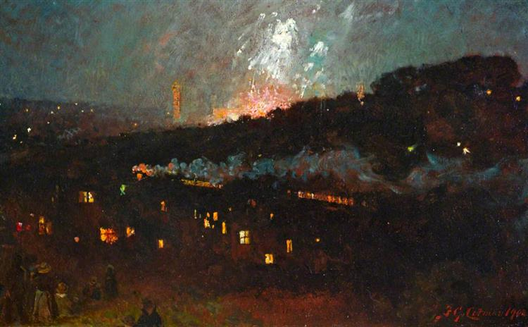 A Firework Display at the Crystal Palace, 1908 - Frederick George Cotman