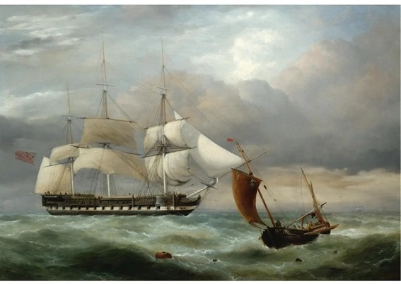 An East Indiaman Hove To, Homeward Bound, and a Brighton Fishing Boat in Choppy Water - George Philip Reinagle