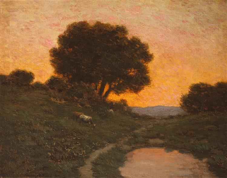 Pastoral Scene at Sunset - Granville Redmond