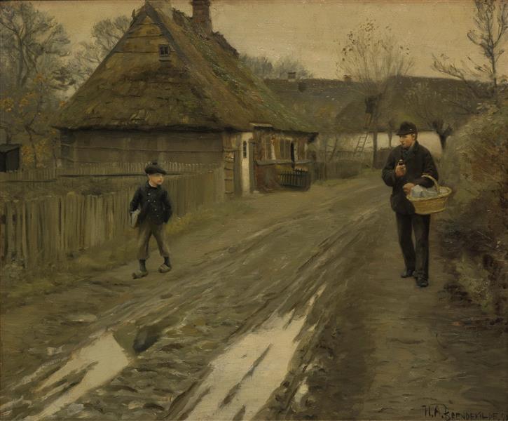 Landsbygade I Grå Vinterstemning, 1890 - Hans Andersen Brendekilde