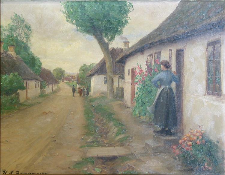 Landsbyparti Med Ung Kvinde - Hans Andersen Brendekilde