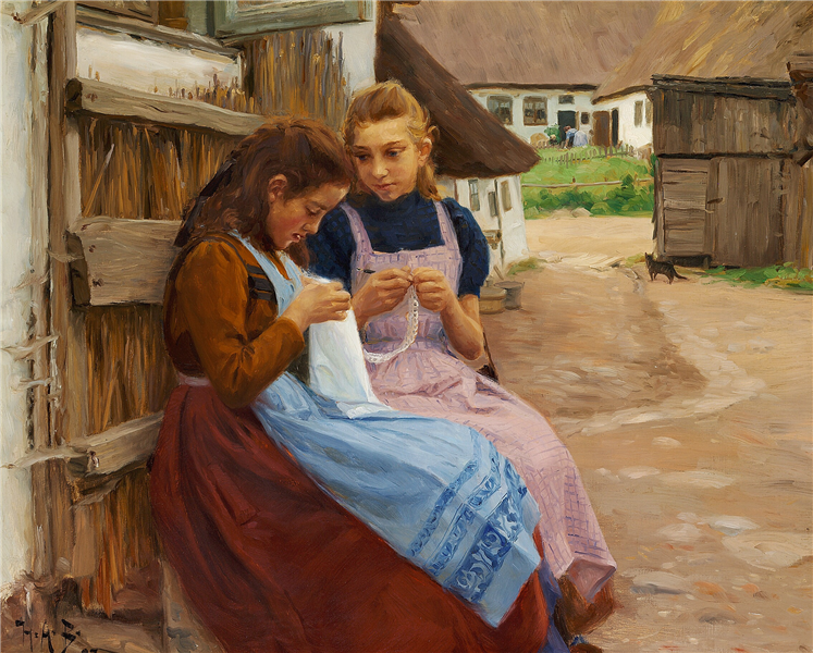 Two Girls with Needle-work Sitting in a Farm Yard, 1902 - Hans Andersen Brendekilde