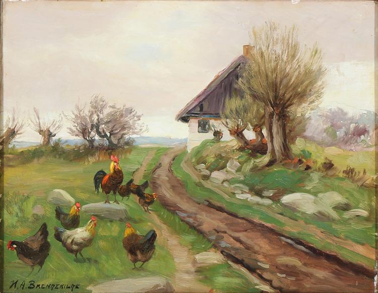 Farmhouse Exterior with Chickens - Hans Andersen Brendekilde