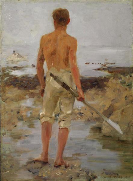 A Boy with An Oar - Henry Scott Tuke
