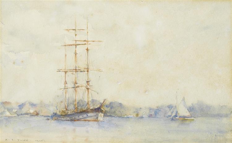 A three-masted barque in an estuary - Henry Scott Tuke