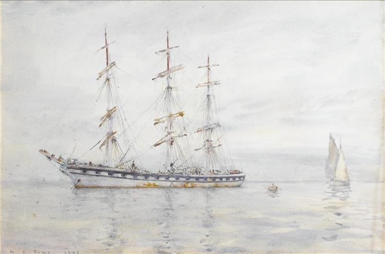 A Three-masted Windjammer Lying at Anchor in the Carrick Roads - Henry Scott Tuke