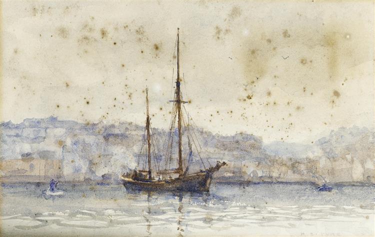 A trading schooner lying off a port - Henry Scott Tuke