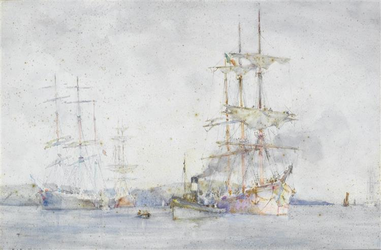 Italian barque being towed to moorings in the Carrick Roads (Towing into Falmouth harbour) - Henry Scott Tuke