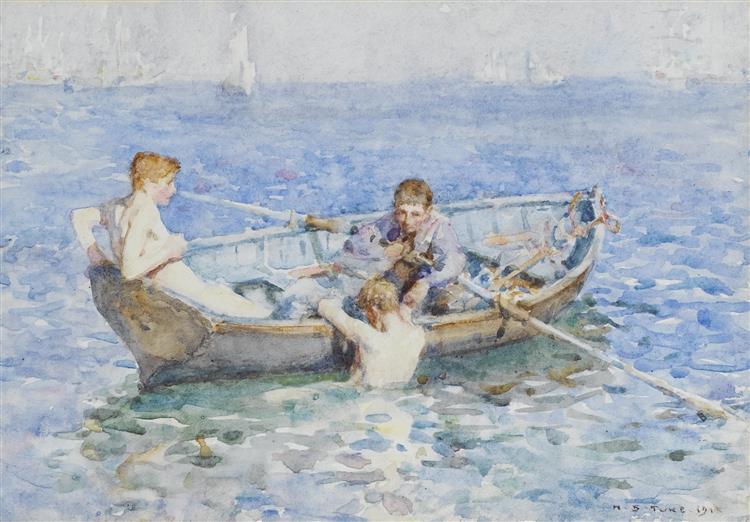 """Study for """"August Blue"""", 1893 - Henry Scott Tuke"""