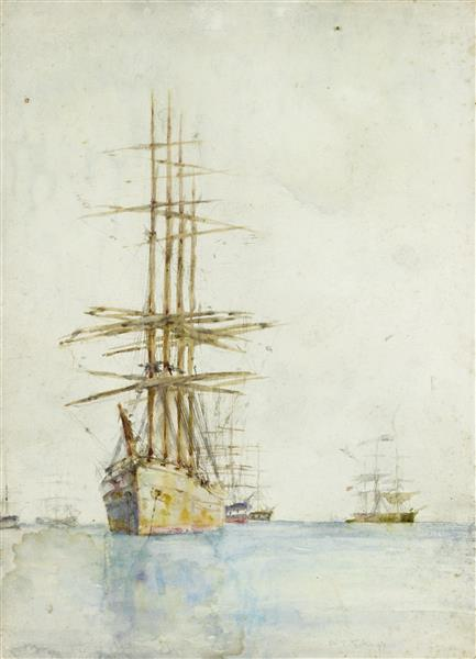 Windjammers lying at their moorings, probably in Falmouth Roads - Henry Scott Tuke