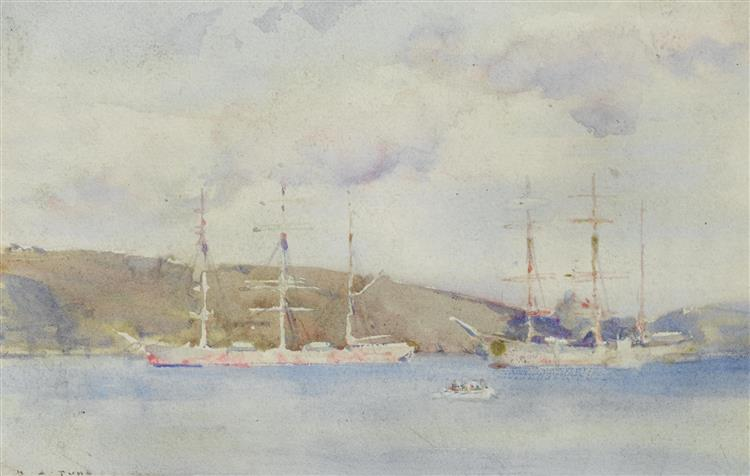 Windjammers Lying in the Carrick Roads Above Falmouth - Henry Scott Tuke