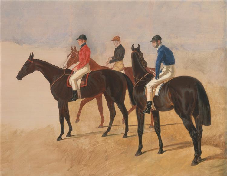 Steeplechase cracks- Allen McDonough on Brunette, Tom Oliver on Discount, and Jem Mason on Lottery, c.1847 - John Frederick Herring Sr.