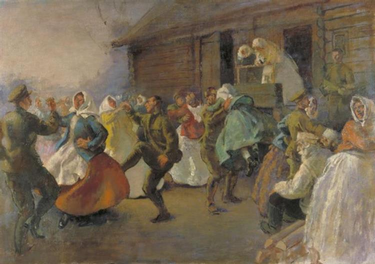 Seen at Chelmusky, North Russia, When the Artist was on His Way to Pujos Gora with a Russian Force Under Colonel Kruglyakov., 1919 - Henry Tonks