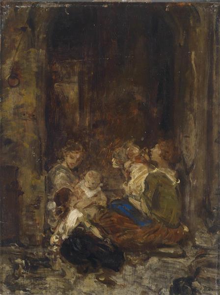 Mutter Mit Kindern - Ludwig Knaus