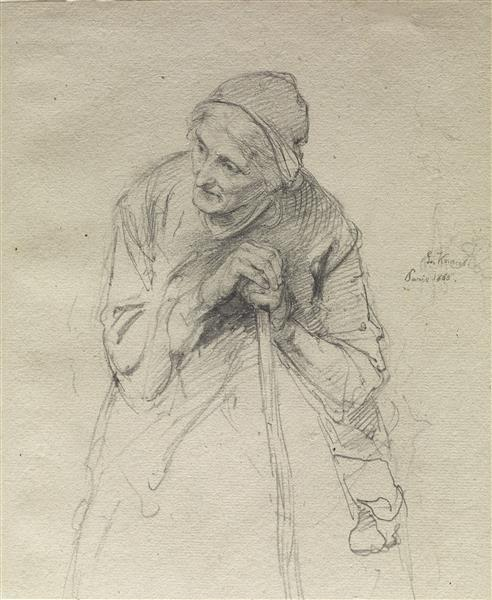 Old Woman Leaning on a Stick - Ludwig Knaus