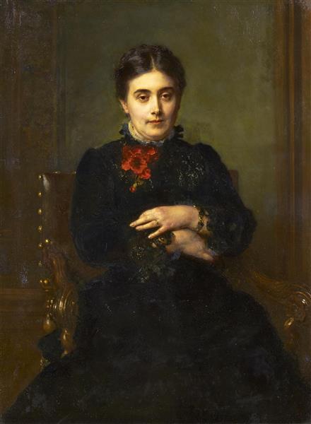 Porträt Der Gattin Des Malers. Henriette Knaus, Geb. Hoffmann, 1864 - Ludwig Knaus