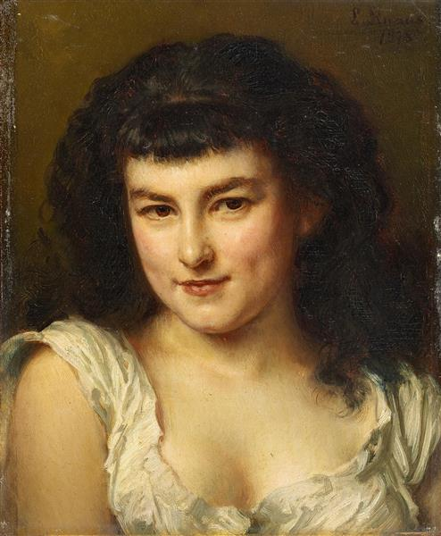Portrait of a Young Girl, 1878 - Ludwig Knaus