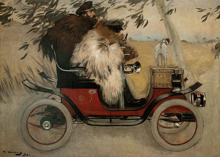Ramon Casas and Pere Romeu in An Automobile, 1901 - Ramon Casas
