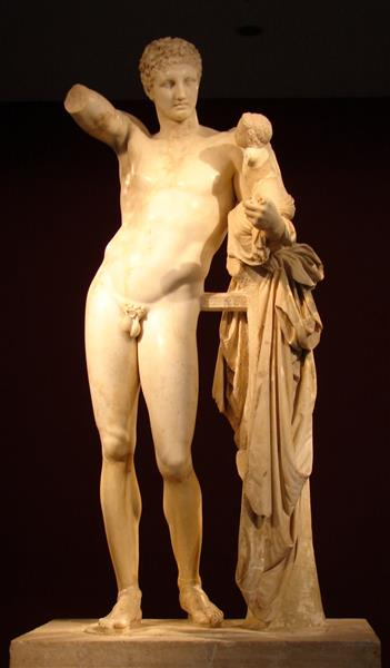 Hermes with Young Dionysus, by Praxyteles, c.350 - c.345 BC - Ancient Greek Painting and Sculpture