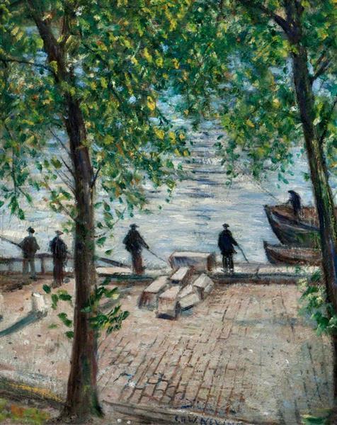 Fishermen on the Seine, 1939 - C. R. W. Nevinson