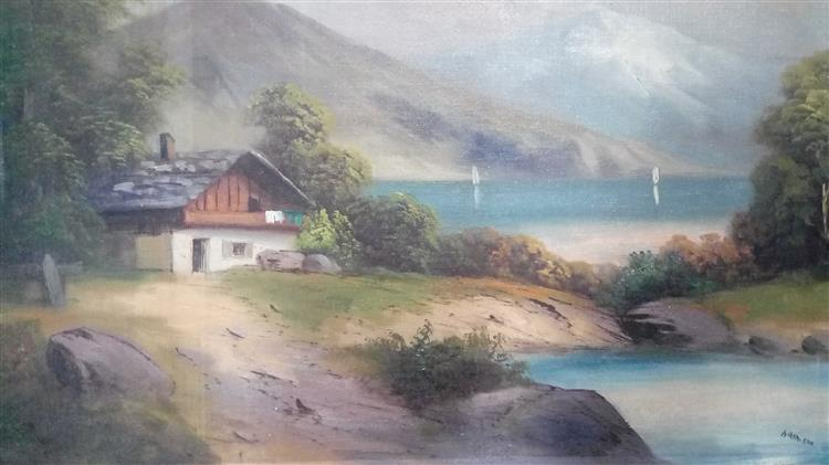 House at a Lake with Mountains, 1910 - Адольф Гітлер