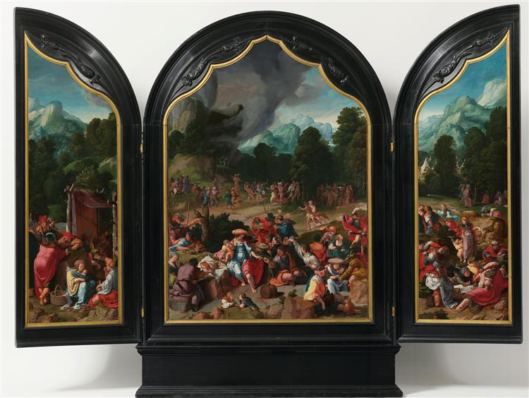 Triptych with Adoration of the Golden Calf, 1530 - Lucas van Leyden