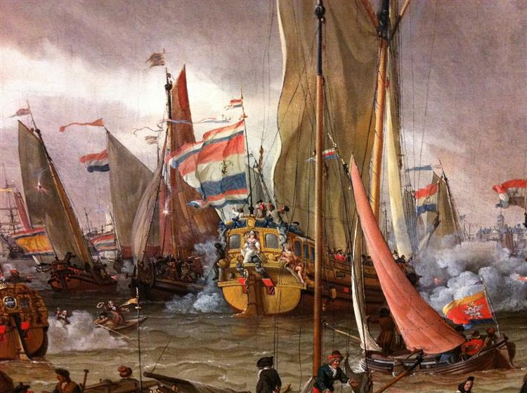 Practice Fight of the Dutch Fleet in the Honour of Tzar Peter the Great, 1 Sept 1697 (fragment) - Abraham Storck