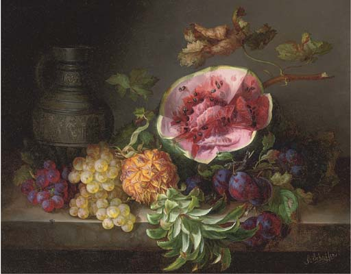 A Watermelon and Other Fruit by An Ornamental Ewer - Adalbert Schaffer