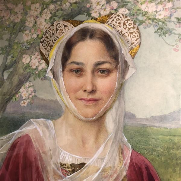 Young Woman In Breton Art Nouveau Costume - Elisabeth Sonrel