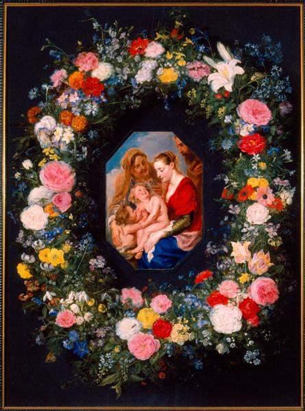 Holy Family with a Garland of Flowers - Jan Brueghel the Elder
